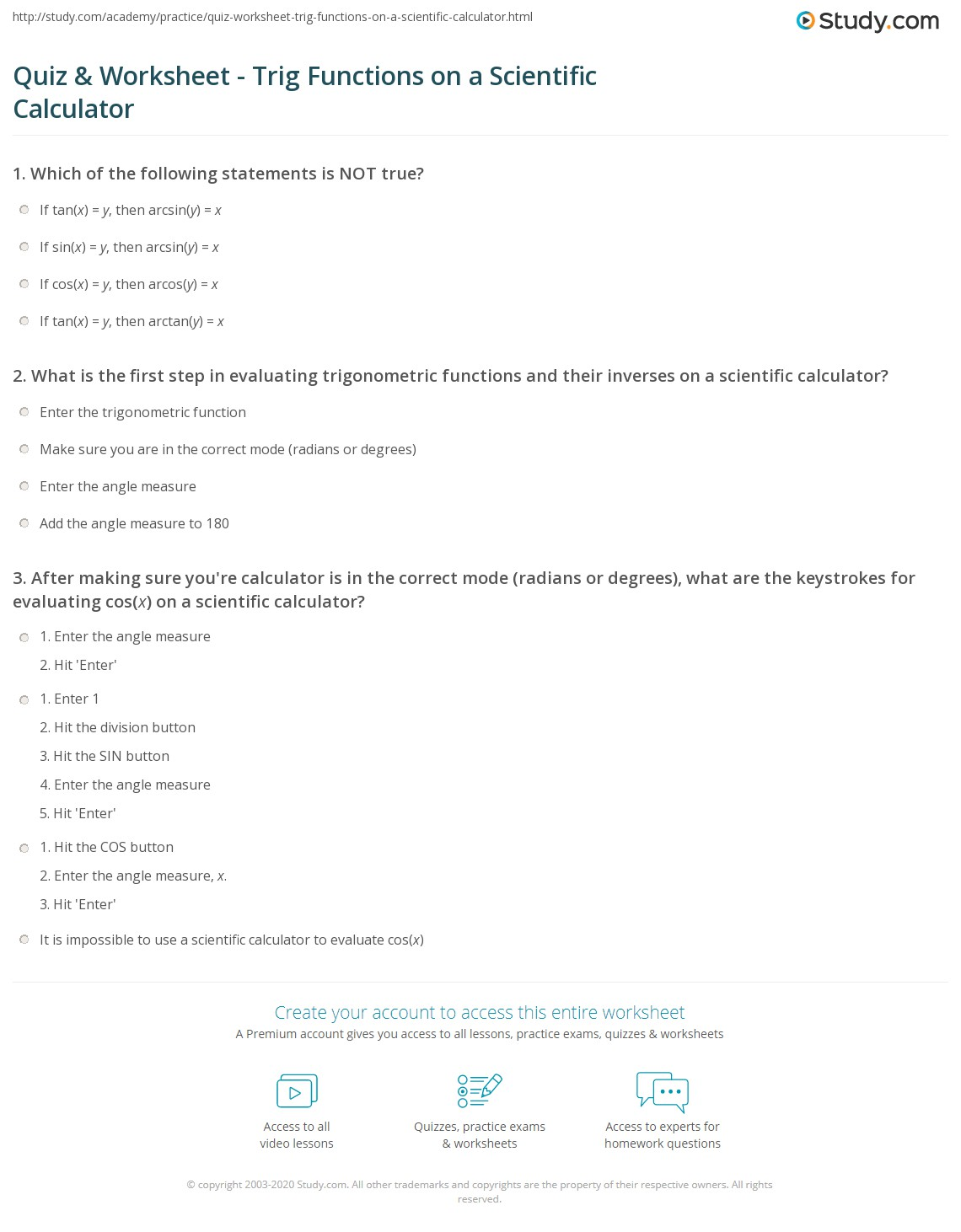 Quiz & Worksheet - Trig Functions on a Scientific Calculator | Study.com