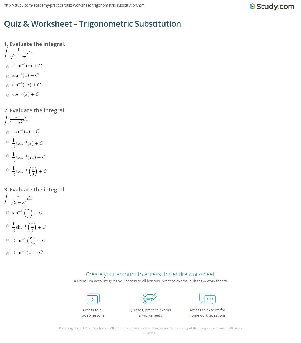 Quiz Worksheet Trigonometric Substitution Study Com