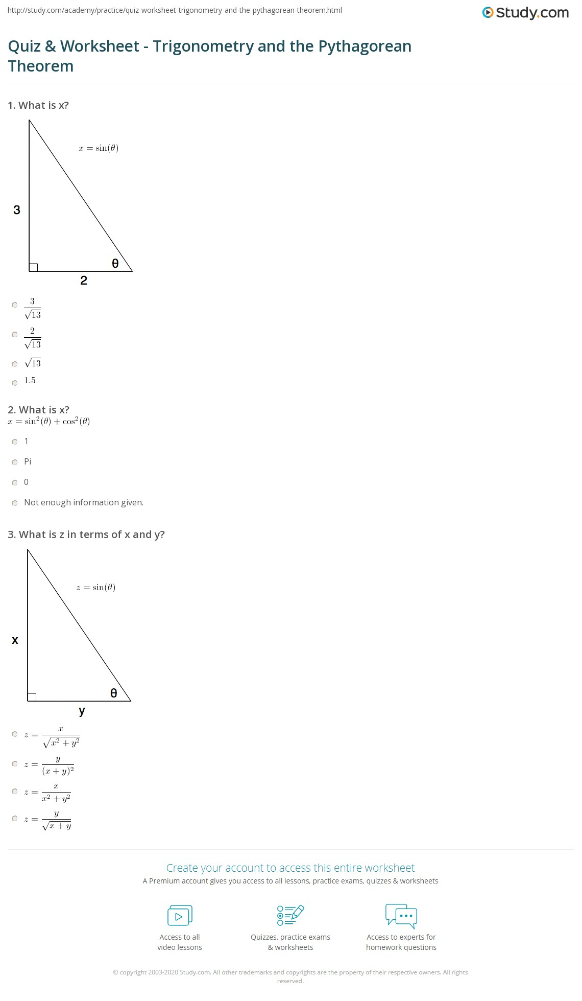 math worksheet : quiz  worksheet  trigonometry and the pythagorean theorem  : Math Worksheets Trigonometry