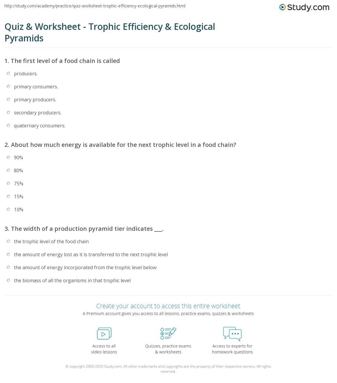 Quiz & Worksheet - Trophic Efficiency & Ecological Pyramids ...