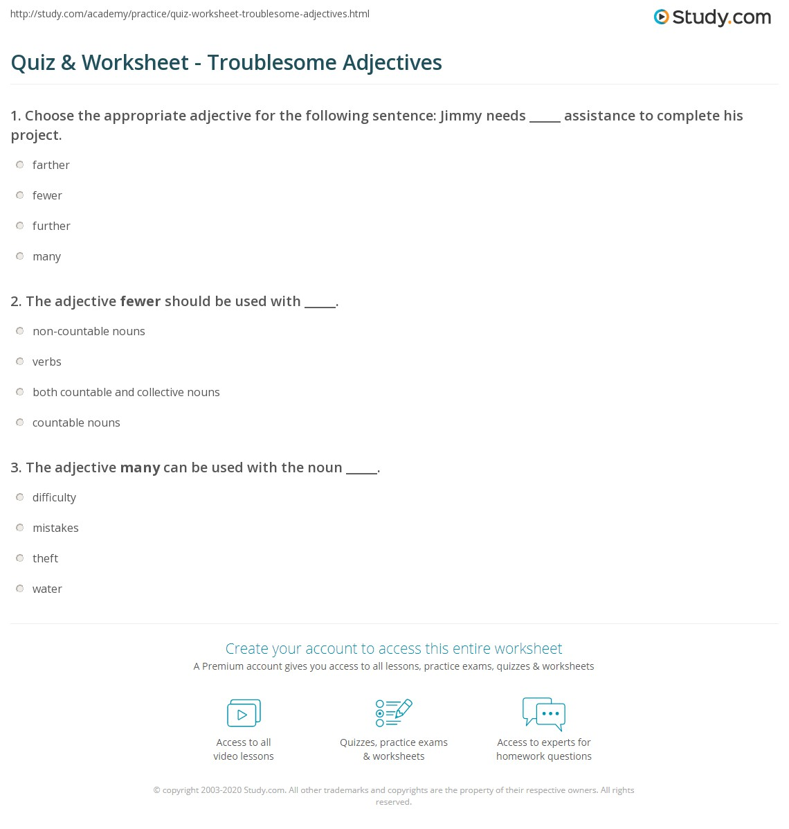 Quiz Worksheet Troublesome Adjectives Study
