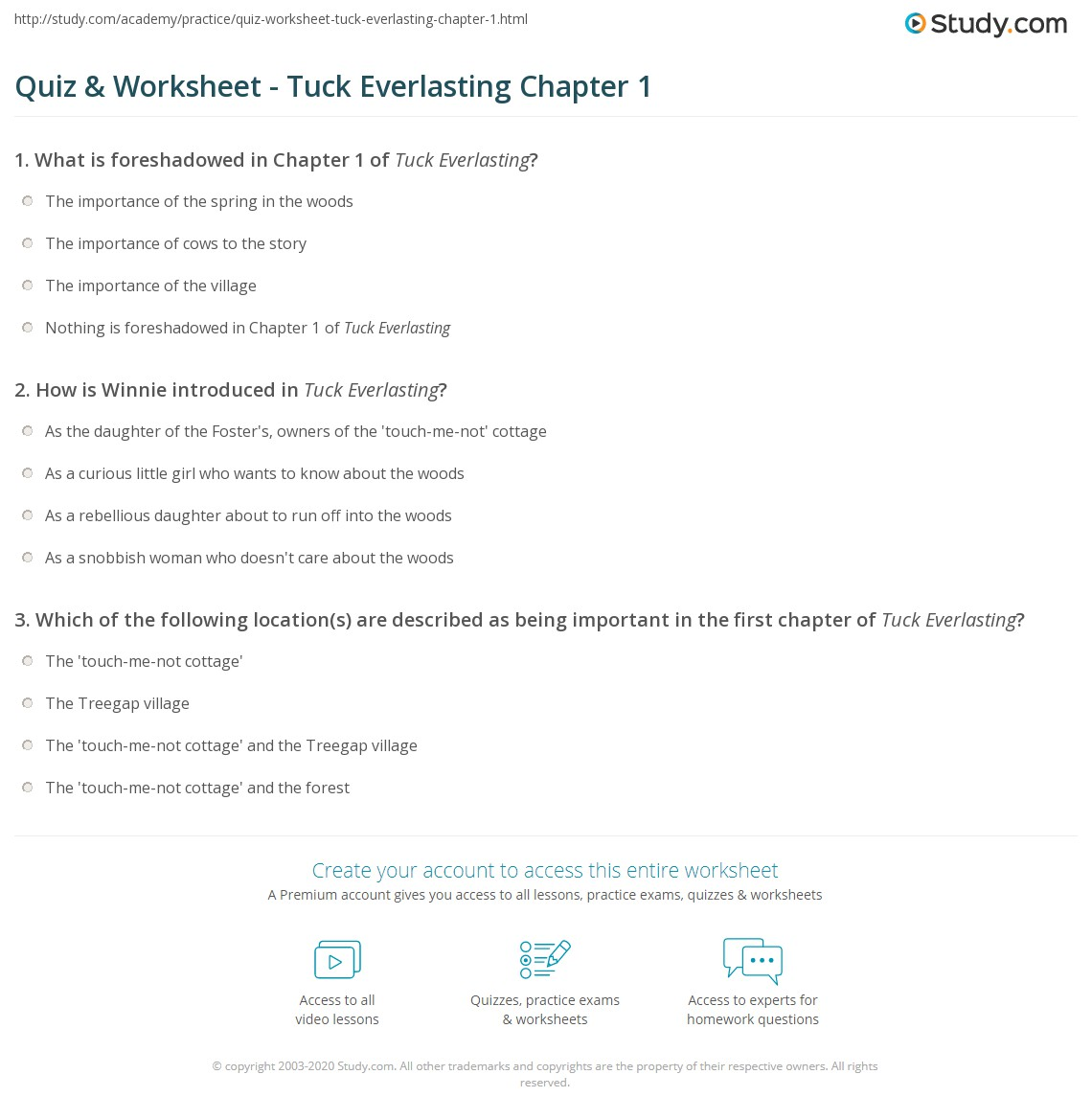 Worksheets Tuck Everlasting Worksheets quiz worksheet tuck everlasting chapter 1 study com print summary worksheet