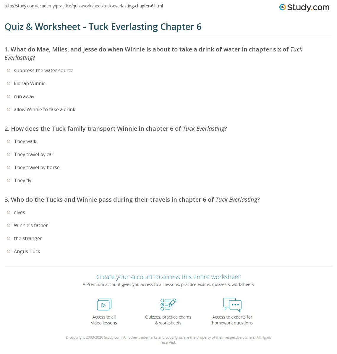 Quiz & Worksheet - Tuck Everlasting Chapter 6 | Study.com