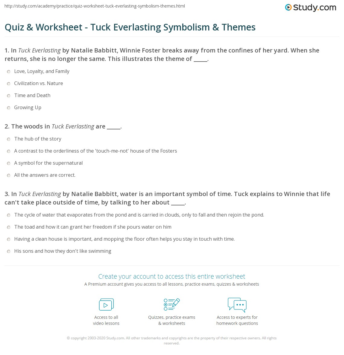 quiz worksheet tuck everlasting symbolism themes. Black Bedroom Furniture Sets. Home Design Ideas