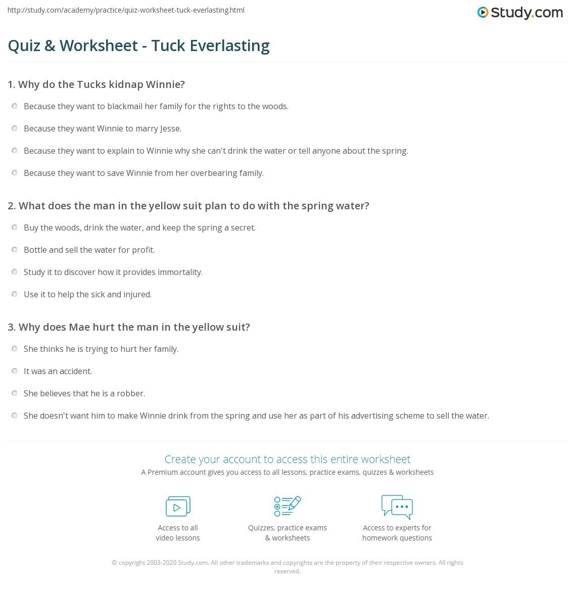 Worksheets Tuck Everlasting Worksheets quiz worksheet tuck everlasting study com print summary characters author worksheet