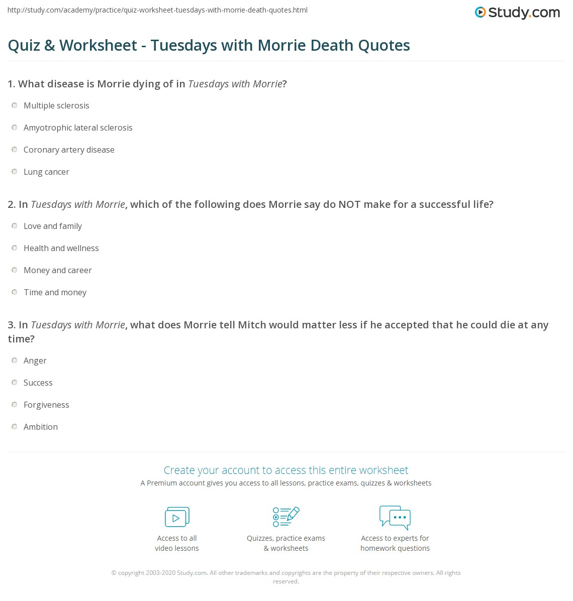 Tuesday With Morrie Quotes Quiz & Worksheet  Tuesdays With Morrie Death Quotes  Study
