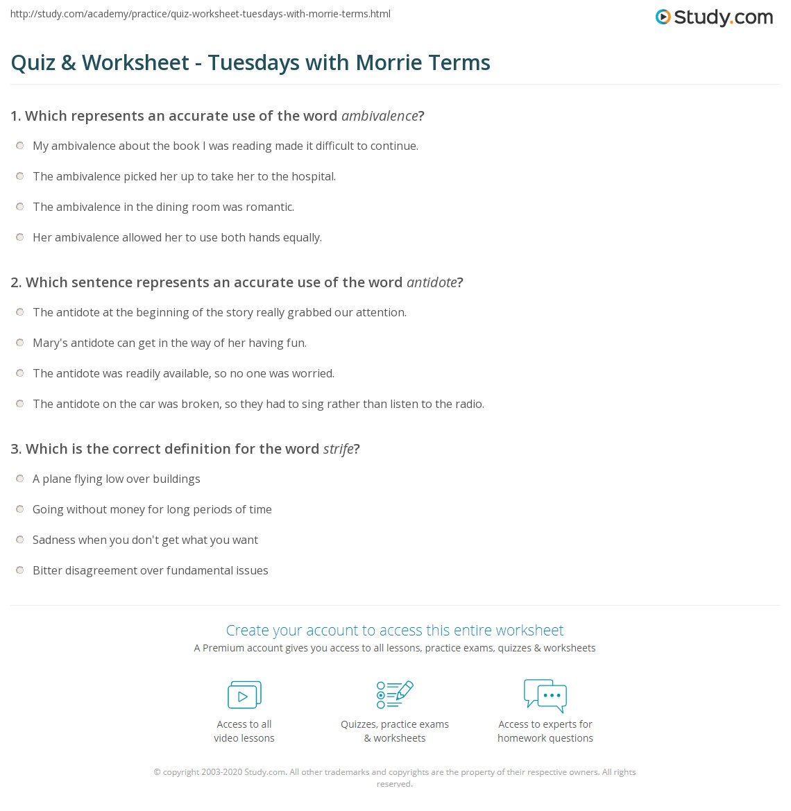 tuesday with morrie vocabulary Copy and paste the following words into a microsoft word document look up the words at wwwdictionarycom  use contexts clues to find the correct definition.