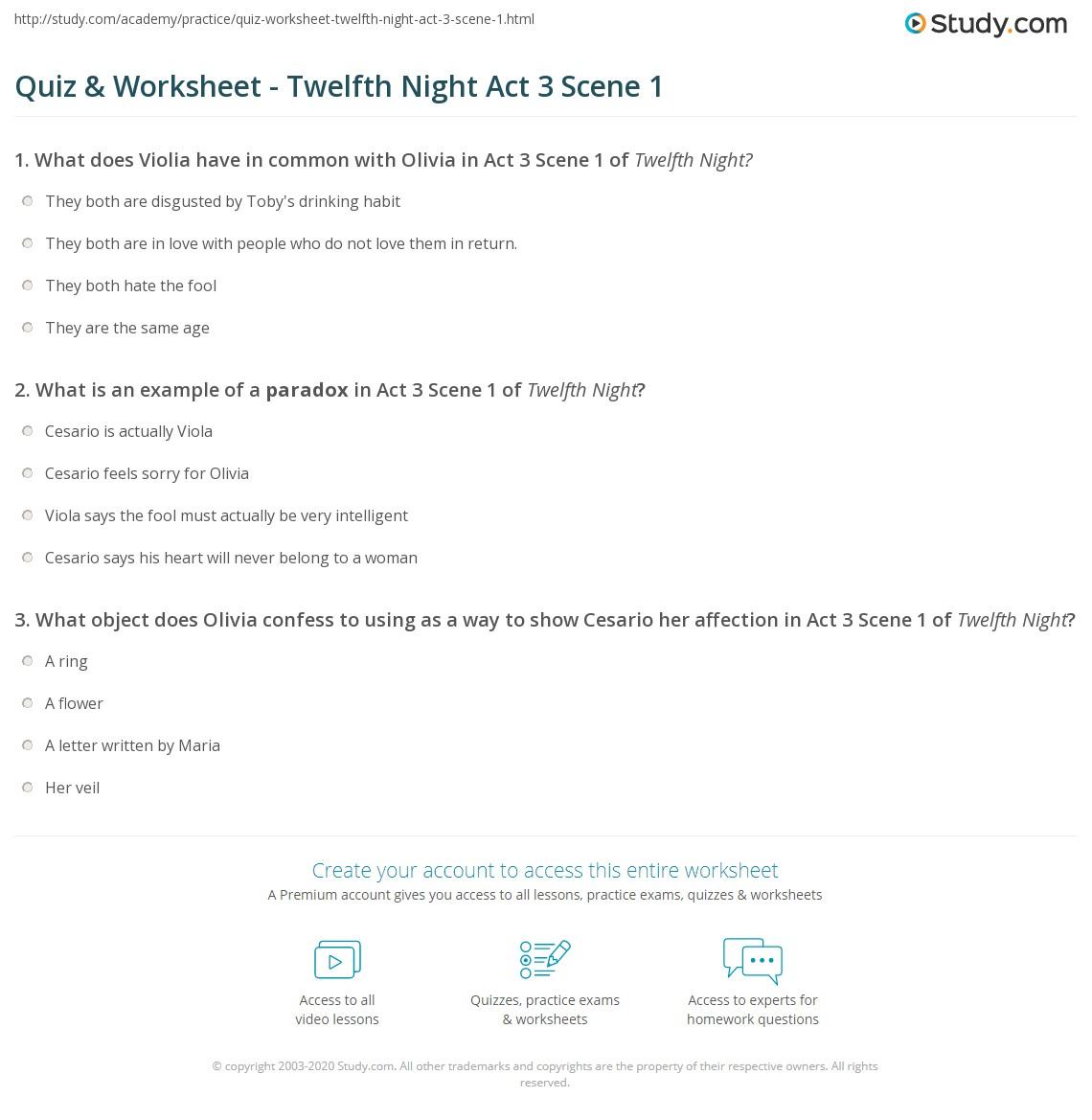 quiz worksheet twelfth night act scene com print twelfth night act 3 scene 1 summary analysis worksheet