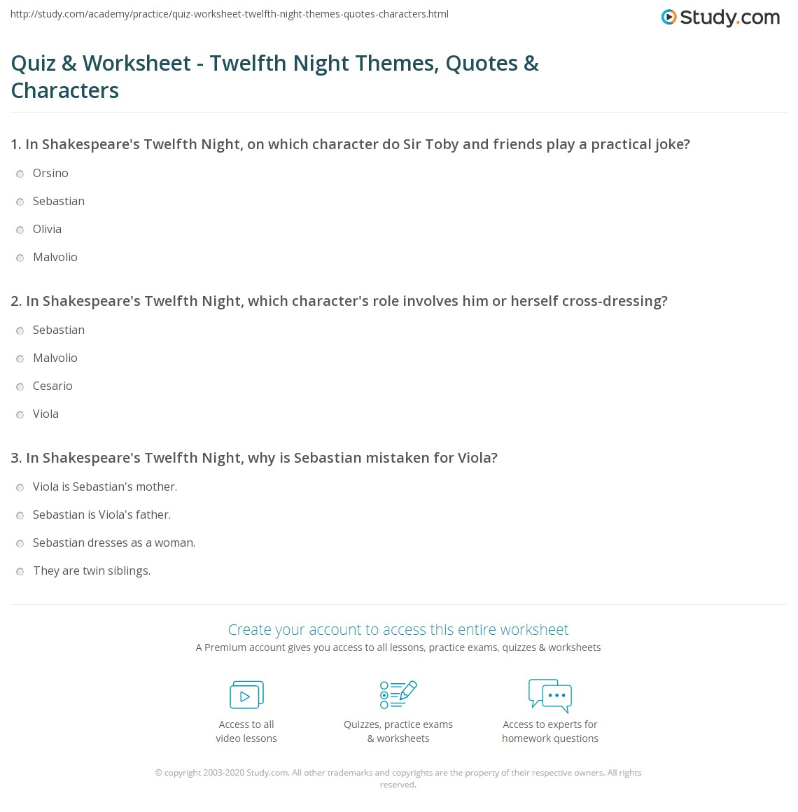 Quiz Worksheet Twelfth Night Themes Quotes Characters Study Com
