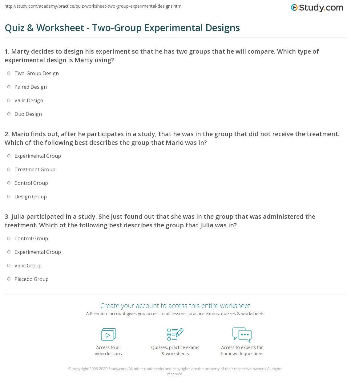 Quiz Worksheet Two Group Experimental Designs Study