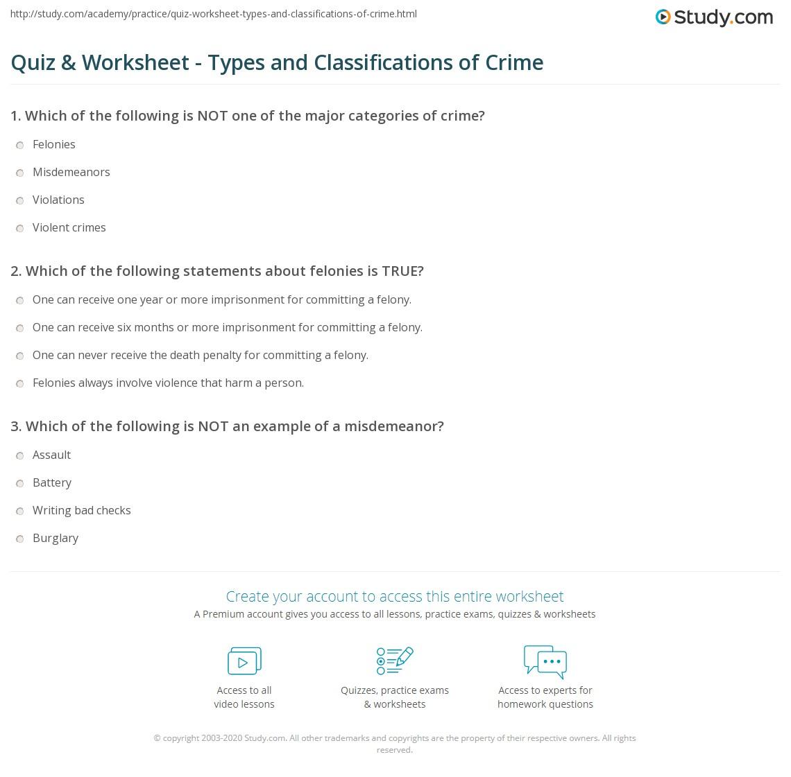 Worksheets Criminal Thinking Worksheets quiz worksheet types and classifications of crime study com print definition worksheet