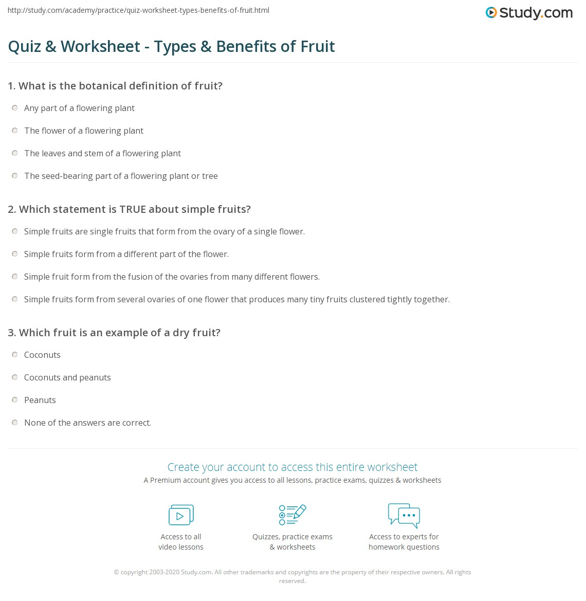 Quiz & Worksheet - Types & Benefits of Fruit | Study.com