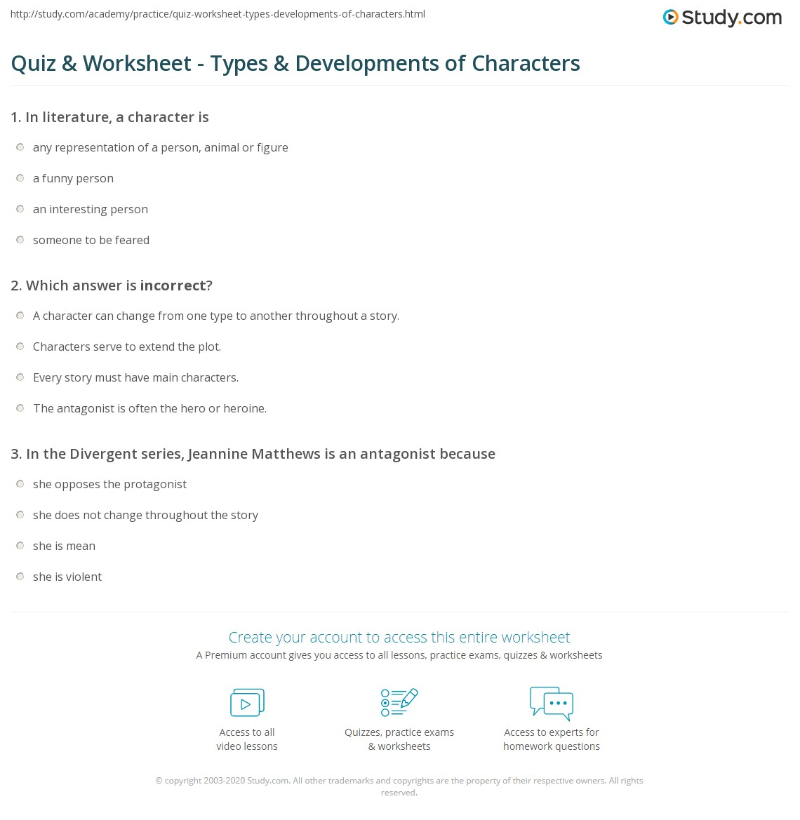Quiz Worksheet Types Developments of Characters – Character Change Worksheet
