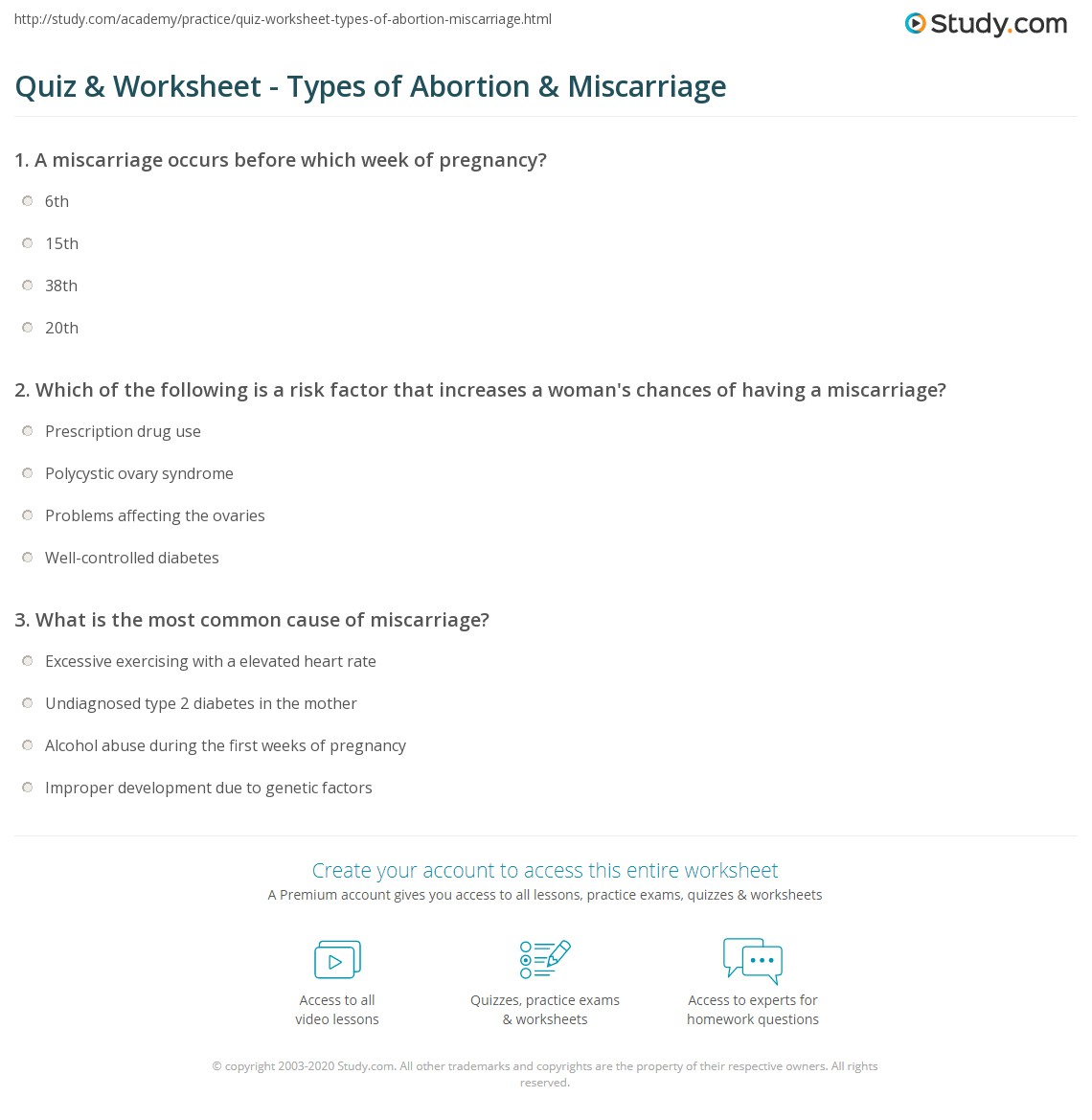 Quiz & Worksheet - Types of Abortion & Miscarriage | Study com