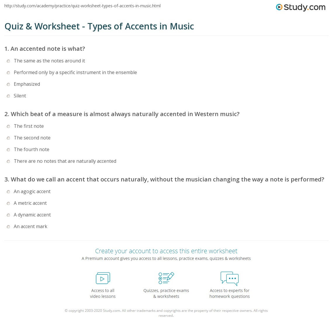 Quiz worksheet types of accents in music study print accents in music definition types worksheet hexwebz Image collections