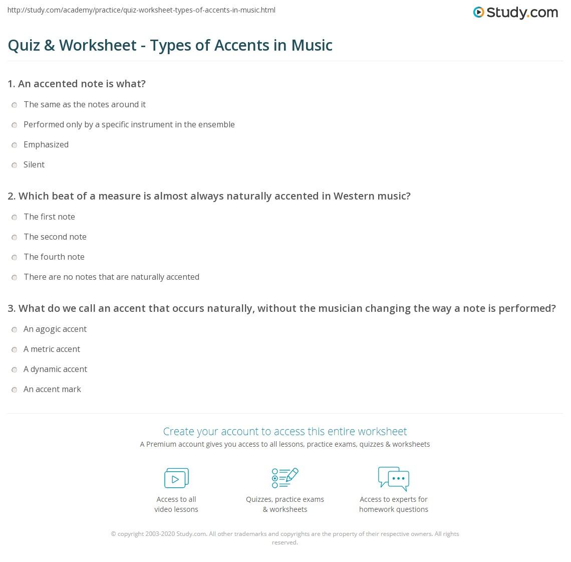 worksheet Music Rhythm Worksheets quiz worksheet types of accents in music study com print definition worksheet