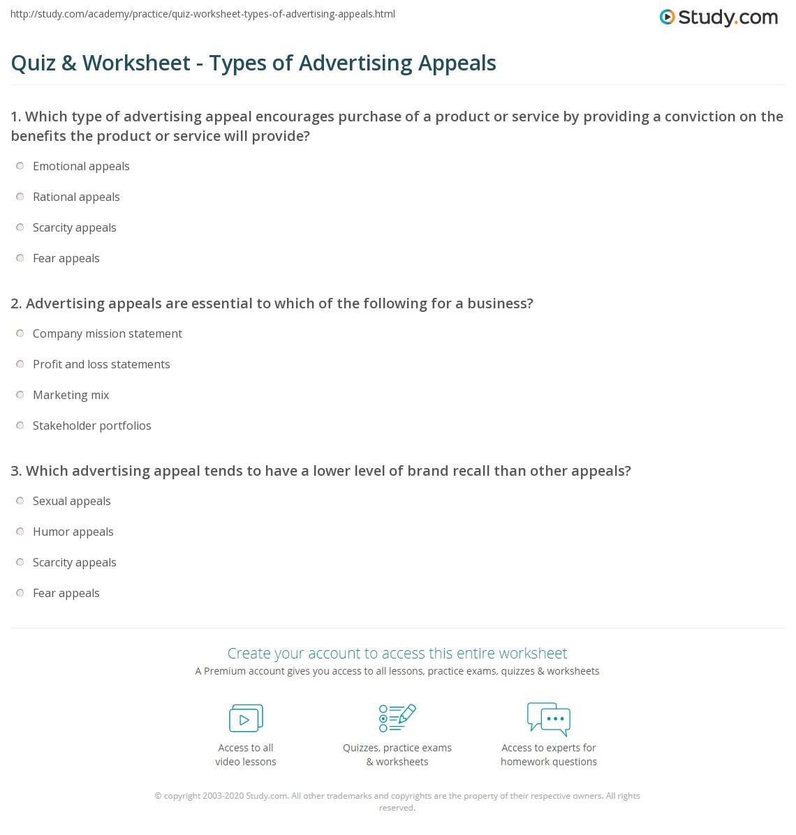 Quiz & Worksheet - Types of Advertising Appeals | Study.com