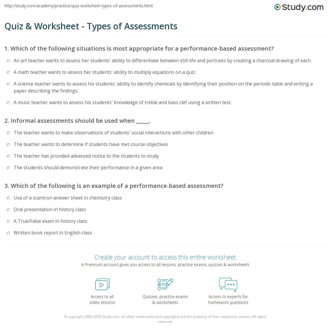 Quiz & Worksheet - Types of Assessments | Study.com