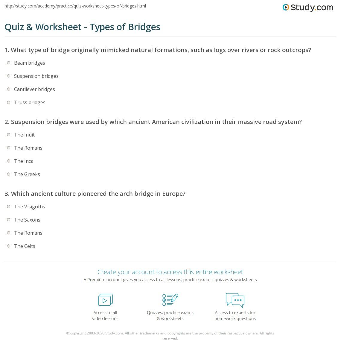 Quiz & Worksheet - Types of Bridges   Study.com