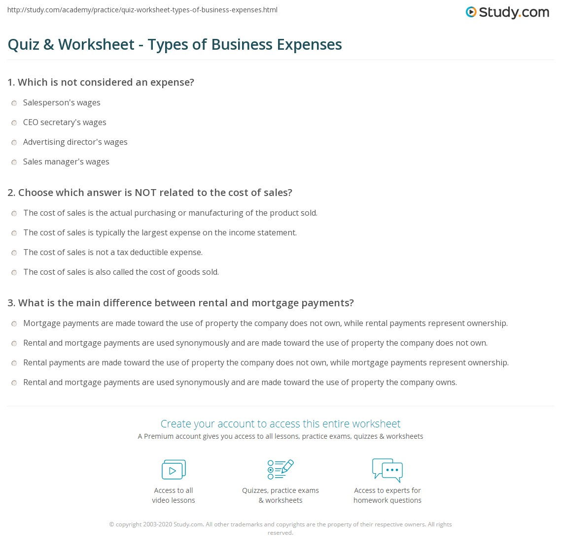 quiz worksheet types of business expenses study com