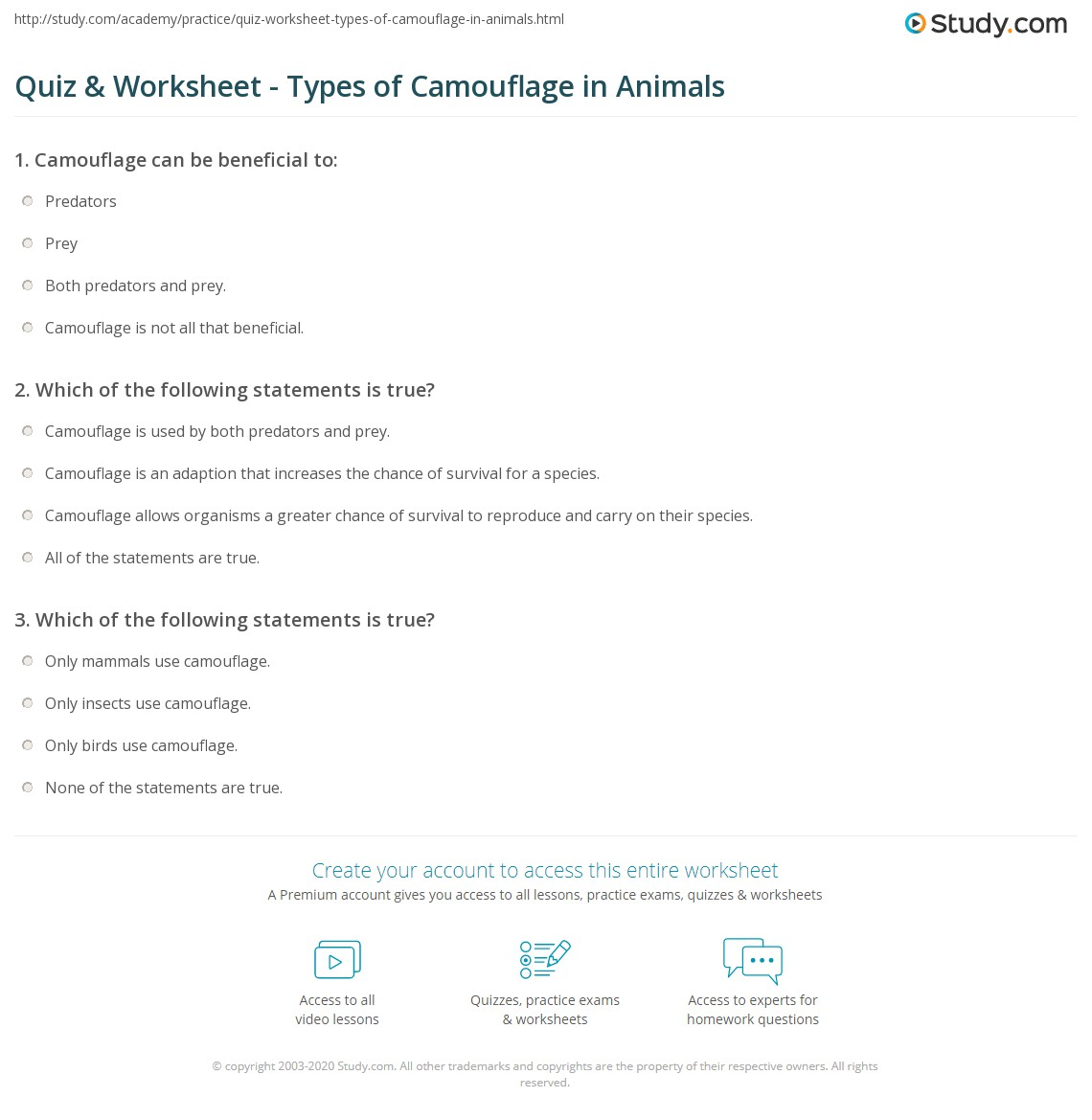 Quiz & Worksheet - Types of Camouflage in Animals | Study.com