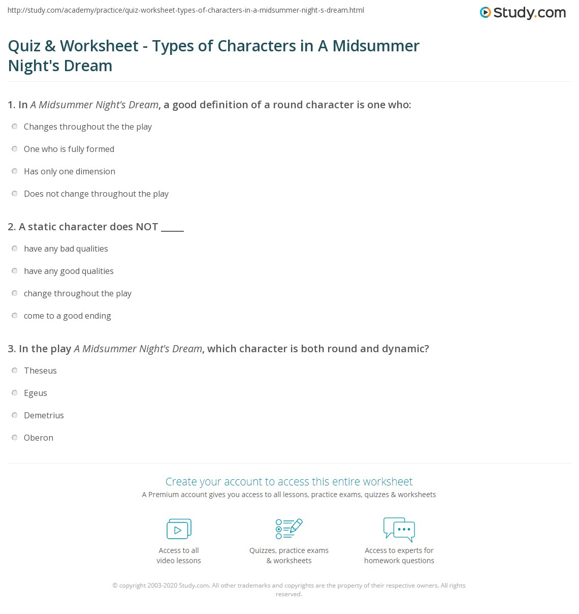 quiz worksheet types of characters in a midsummer night 39 s dream. Black Bedroom Furniture Sets. Home Design Ideas