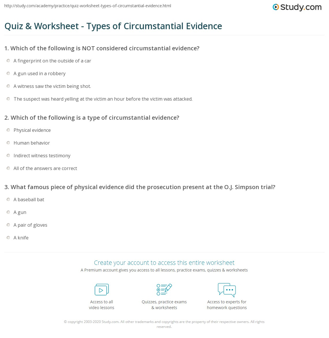 Quiz Worksheet Types Of Circumstantial Evidence Study