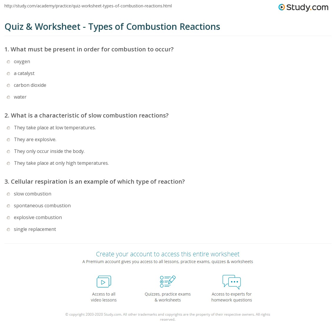 Quiz & Worksheet - Types of Combustion Reactions | Study.com