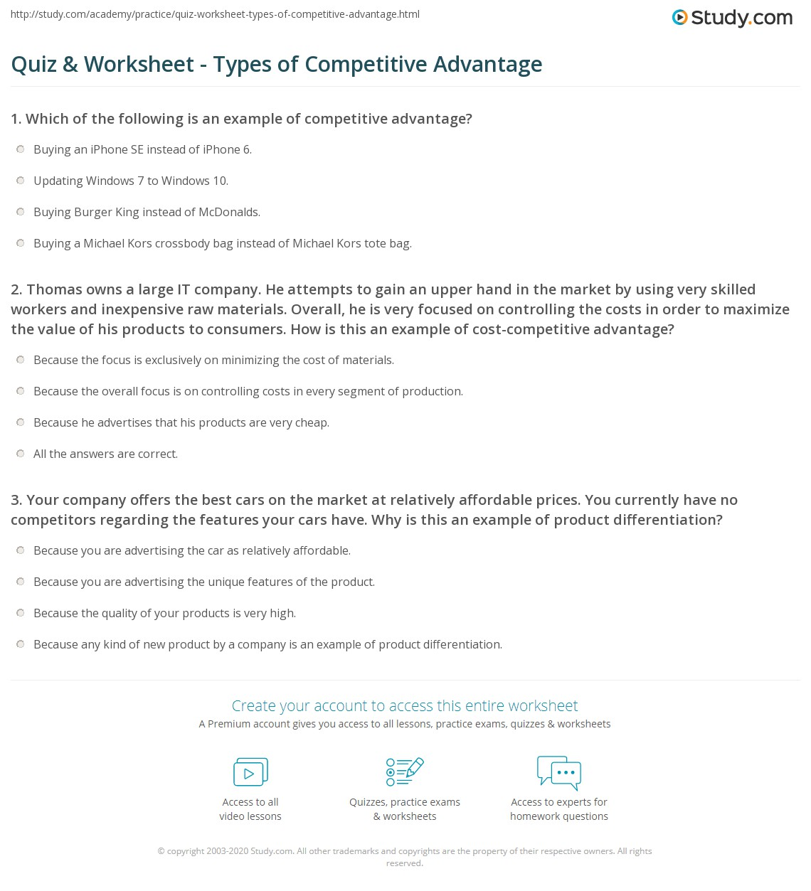 quiz worksheet types of competitive advantage. Black Bedroom Furniture Sets. Home Design Ideas