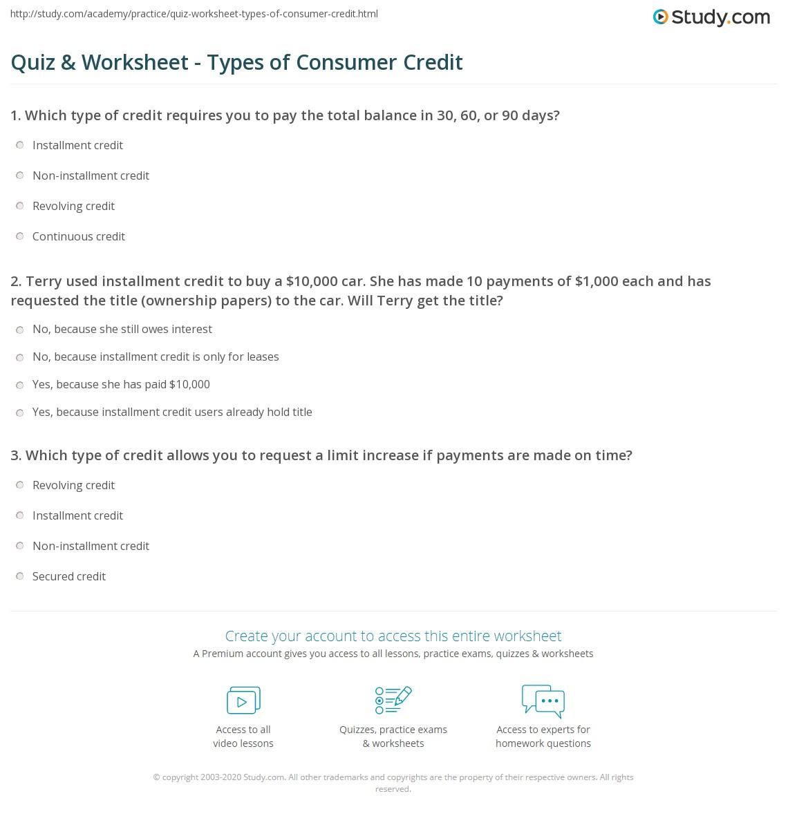 Quiz Worksheet Types Of Consumer Credit Study Com