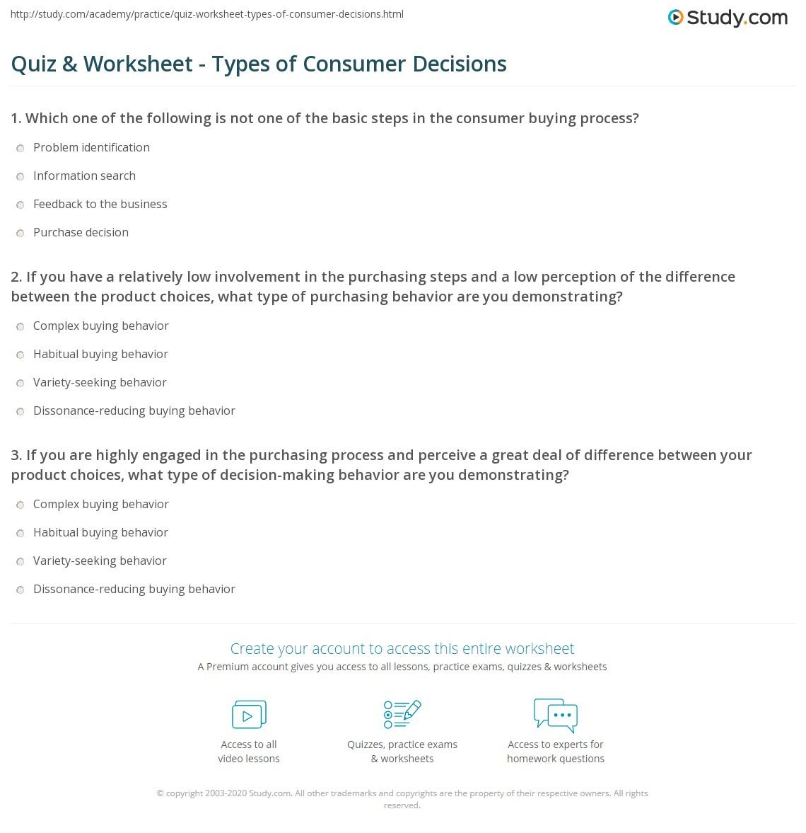 worksheet Wise Mind Worksheet quiz worksheet types of consumer decisions study com print overview worksheet