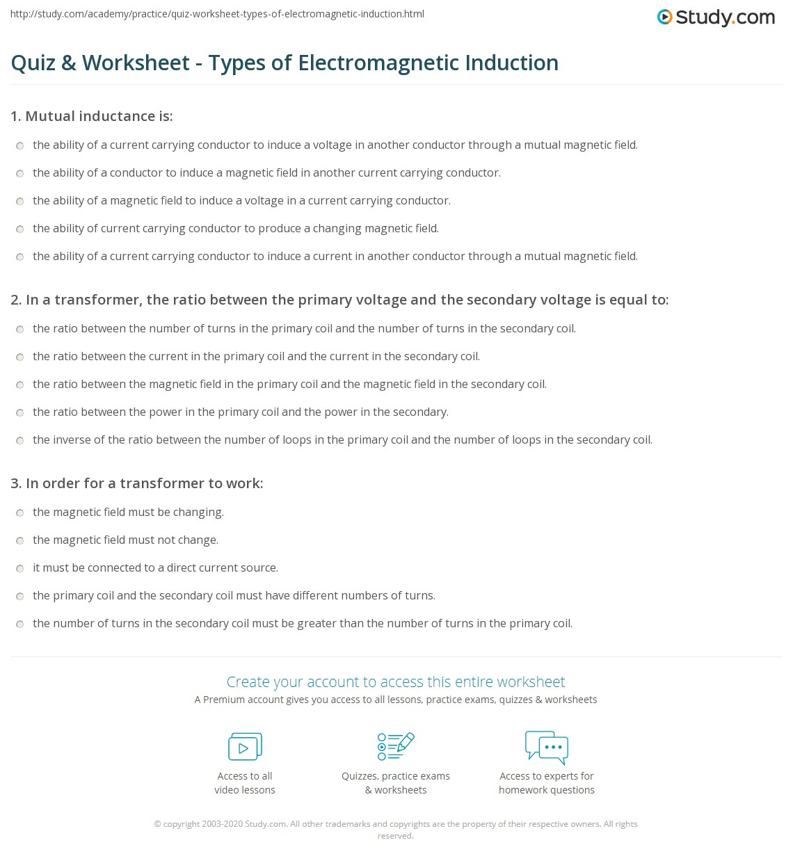 quiz worksheet types of electromagnetic induction. Black Bedroom Furniture Sets. Home Design Ideas