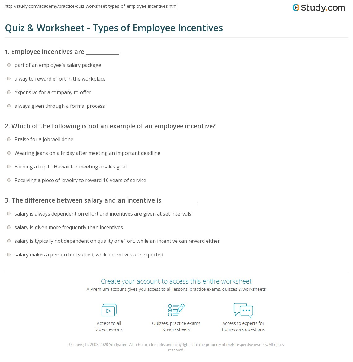 Quiz Worksheet Types Of Employee Incentives Study