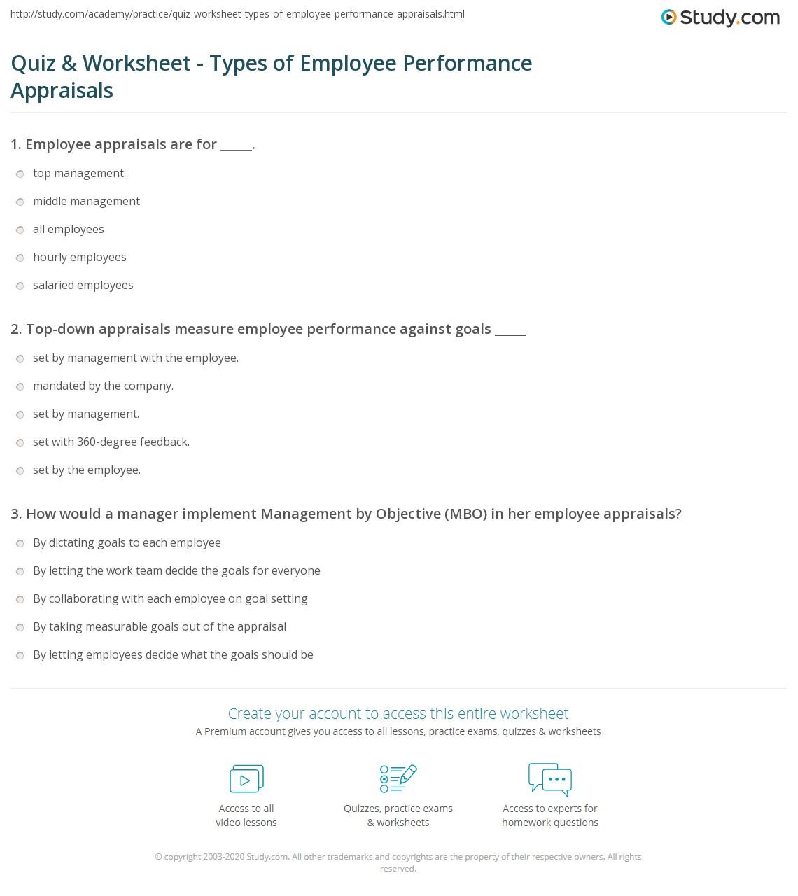 Worksheets Performance Feedback Worksheet quiz worksheet types of employee performance appraisals print appraisal and 360 feedback worksheet