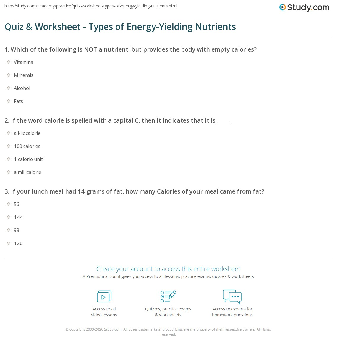 Quiz & Worksheet - Types of Energy-Yielding Nutrients | Study.com