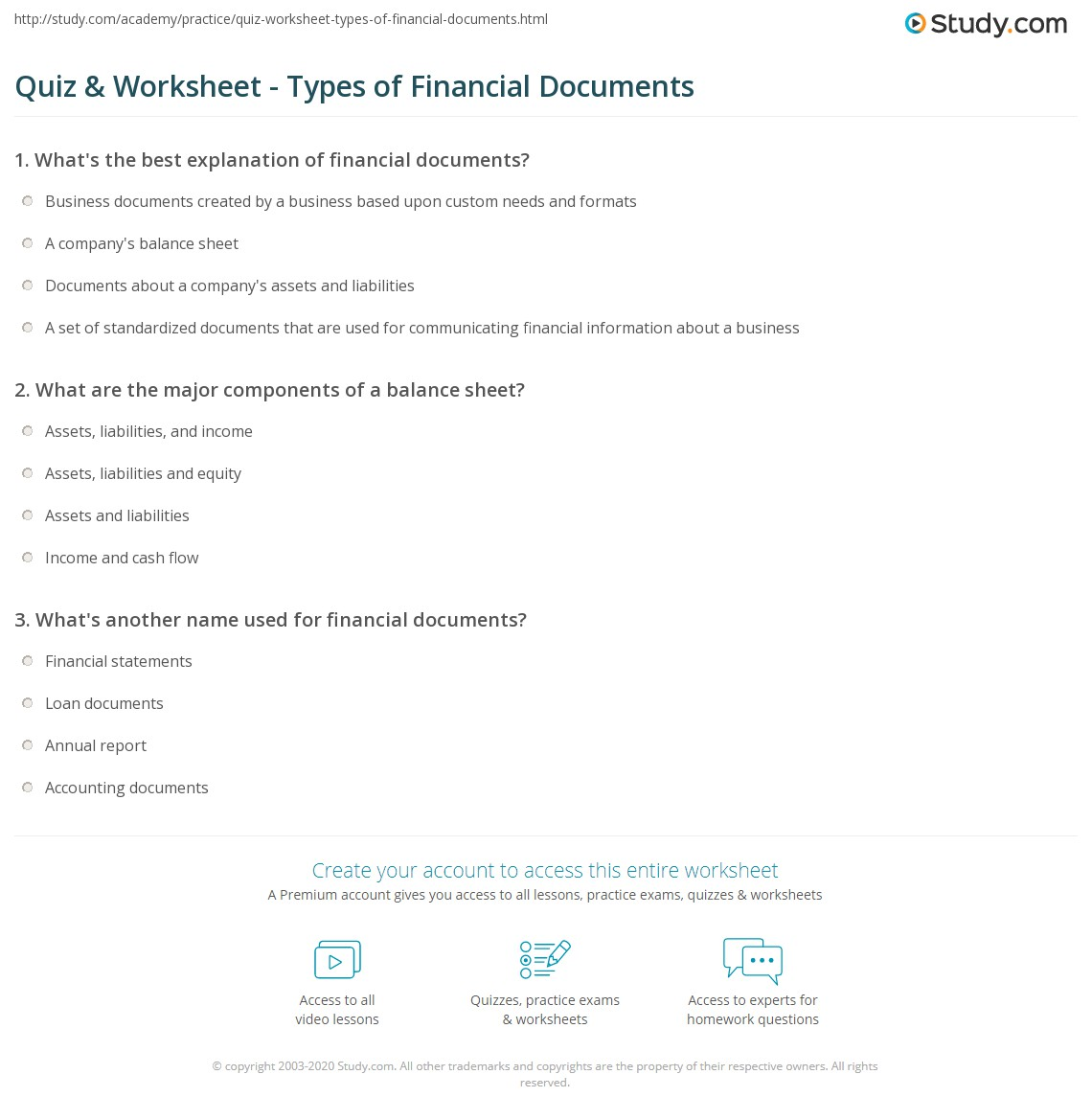 components of balance sheet – Components of Balance Sheet