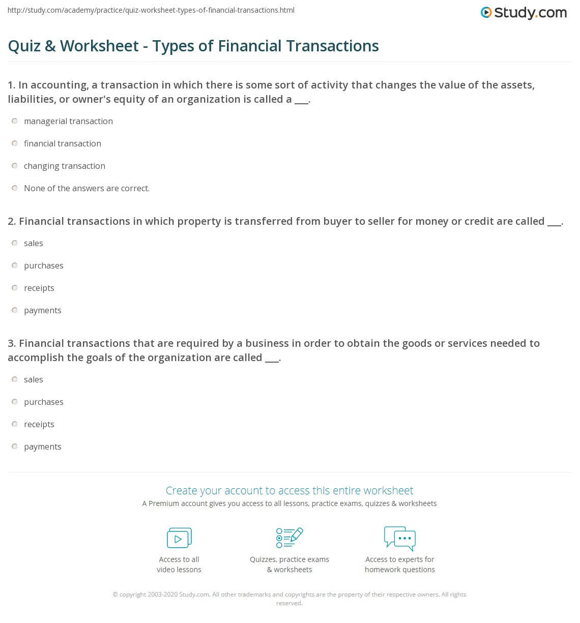 Quiz & Worksheet - Types of Financial Transactions | Study.com