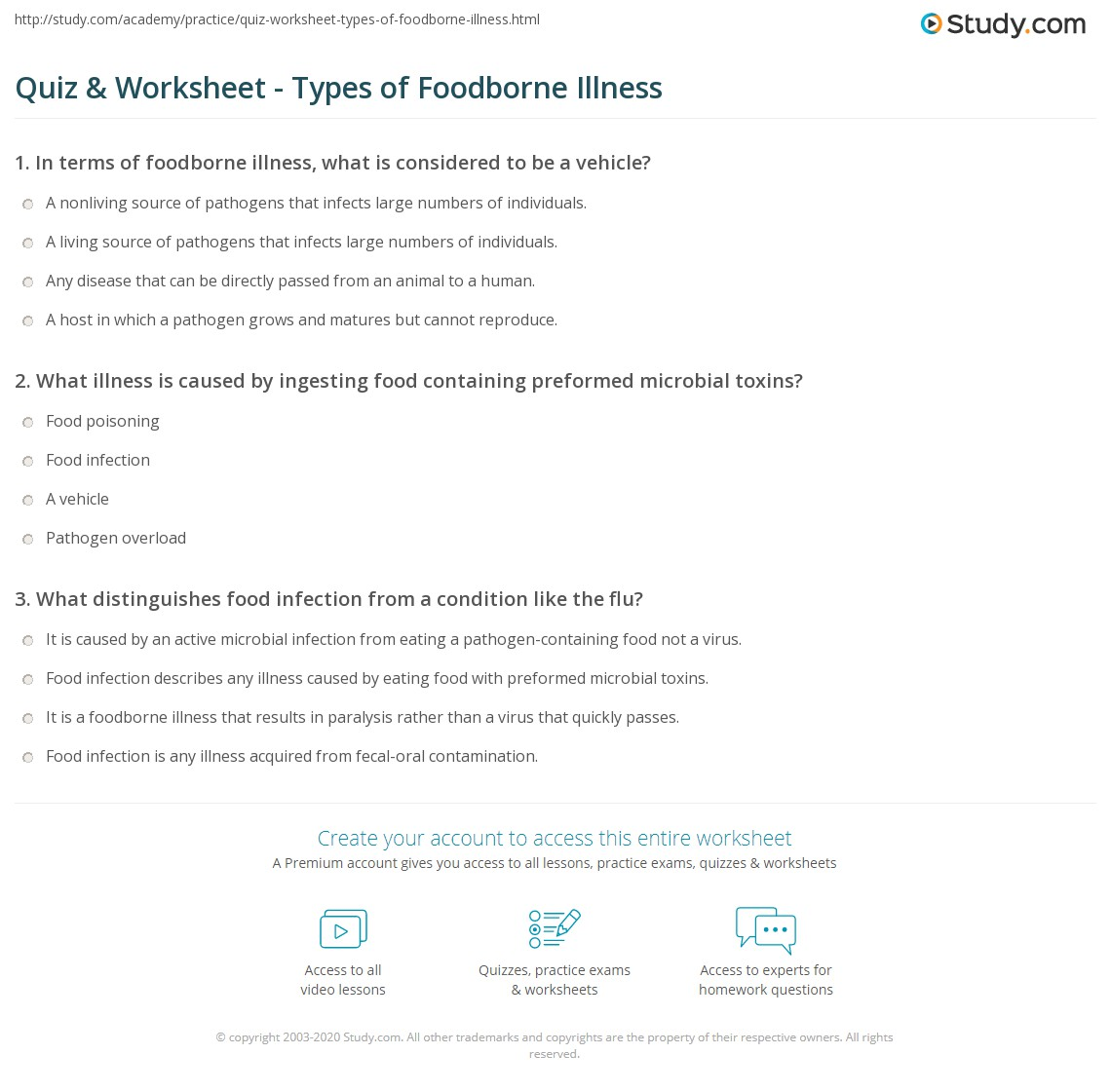 quiz & worksheet - types of foodborne illness | study