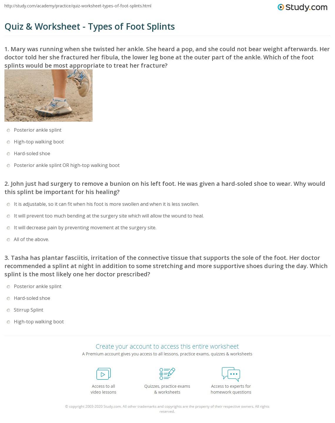 Quiz & Worksheet - Types of Foot Splints   Study com