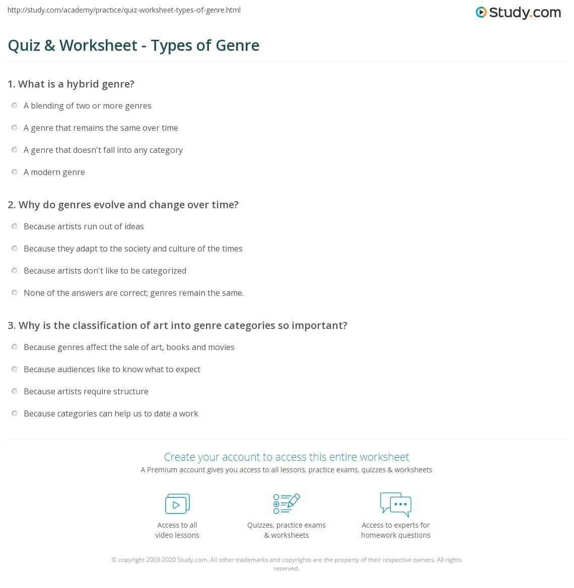 worksheet Genre Worksheets quiz worksheet types of genre study com print what is definition worksheet