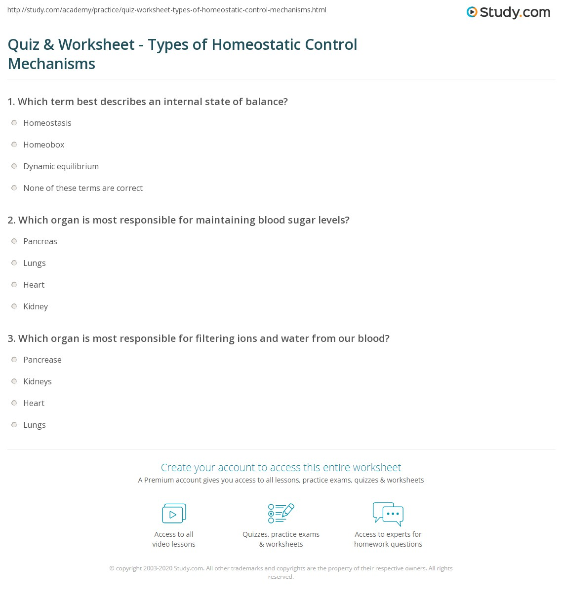 Quiz Worksheet Types of Homeostatic Control Mechanisms – Homeostasis Worksheet