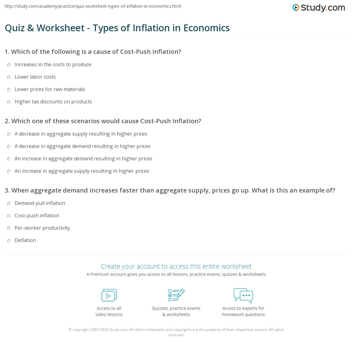 quiz worksheet types of inflation in economics com print demand pull inflation vs cost push inflation worksheet