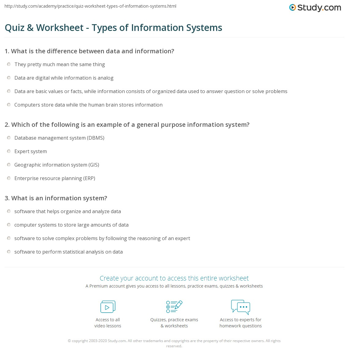 Quiz & Worksheet - Types of Information Systems | Study.com