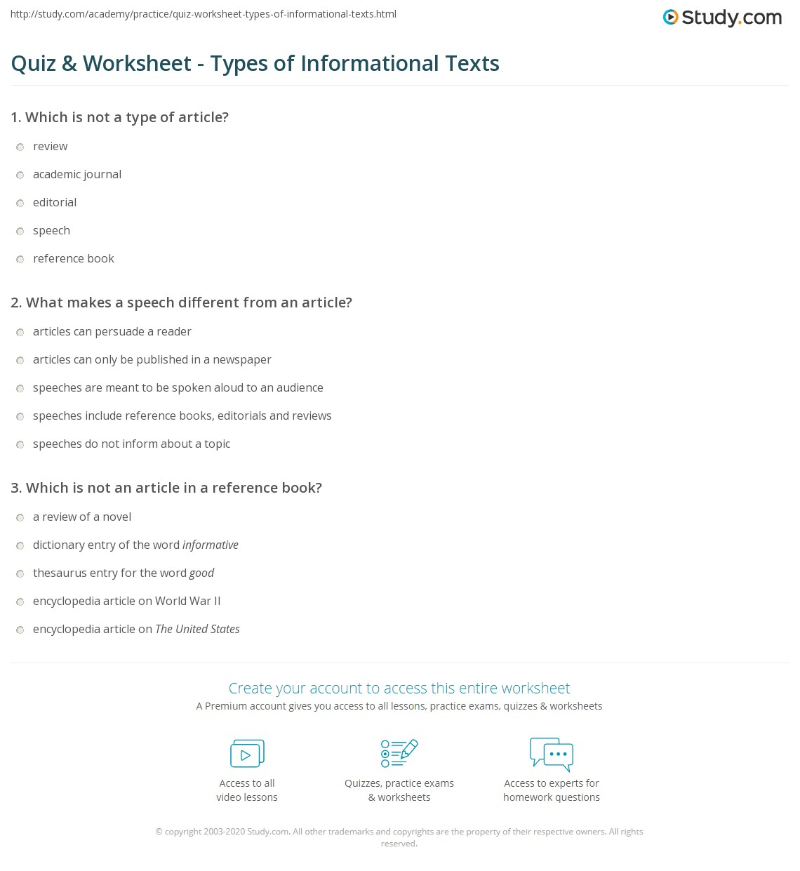 Quiz Worksheet Types of Informational Texts – Informational Text Worksheets