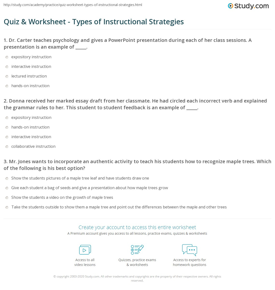 Quiz Worksheet Types Of Instructional Strategies Study