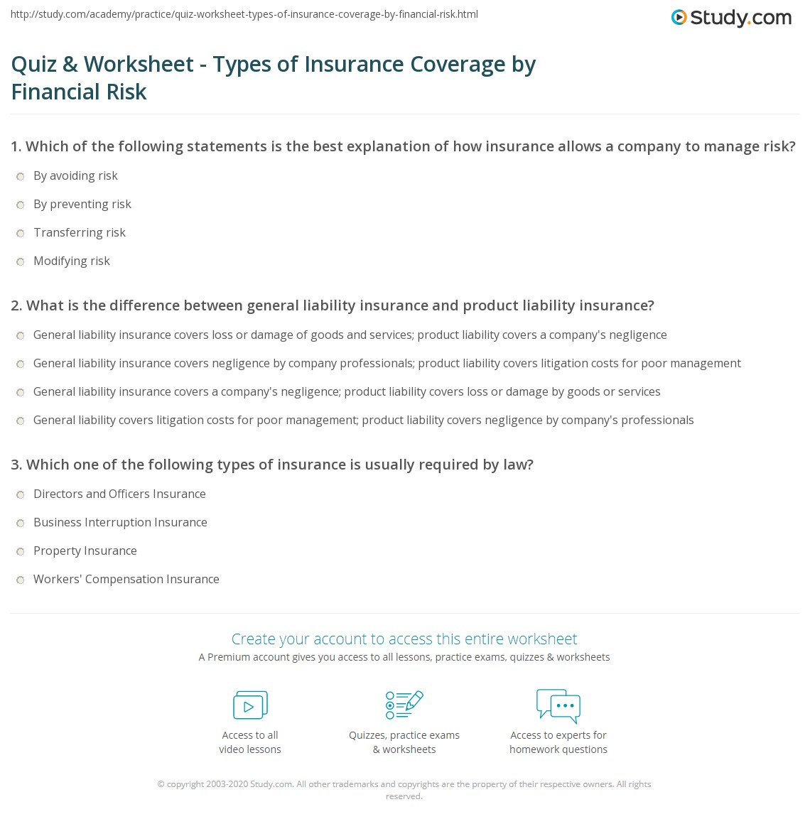 Worksheet Business Interruption Worksheet quiz worksheet types of insurance coverage by financial risk print for various worksheet
