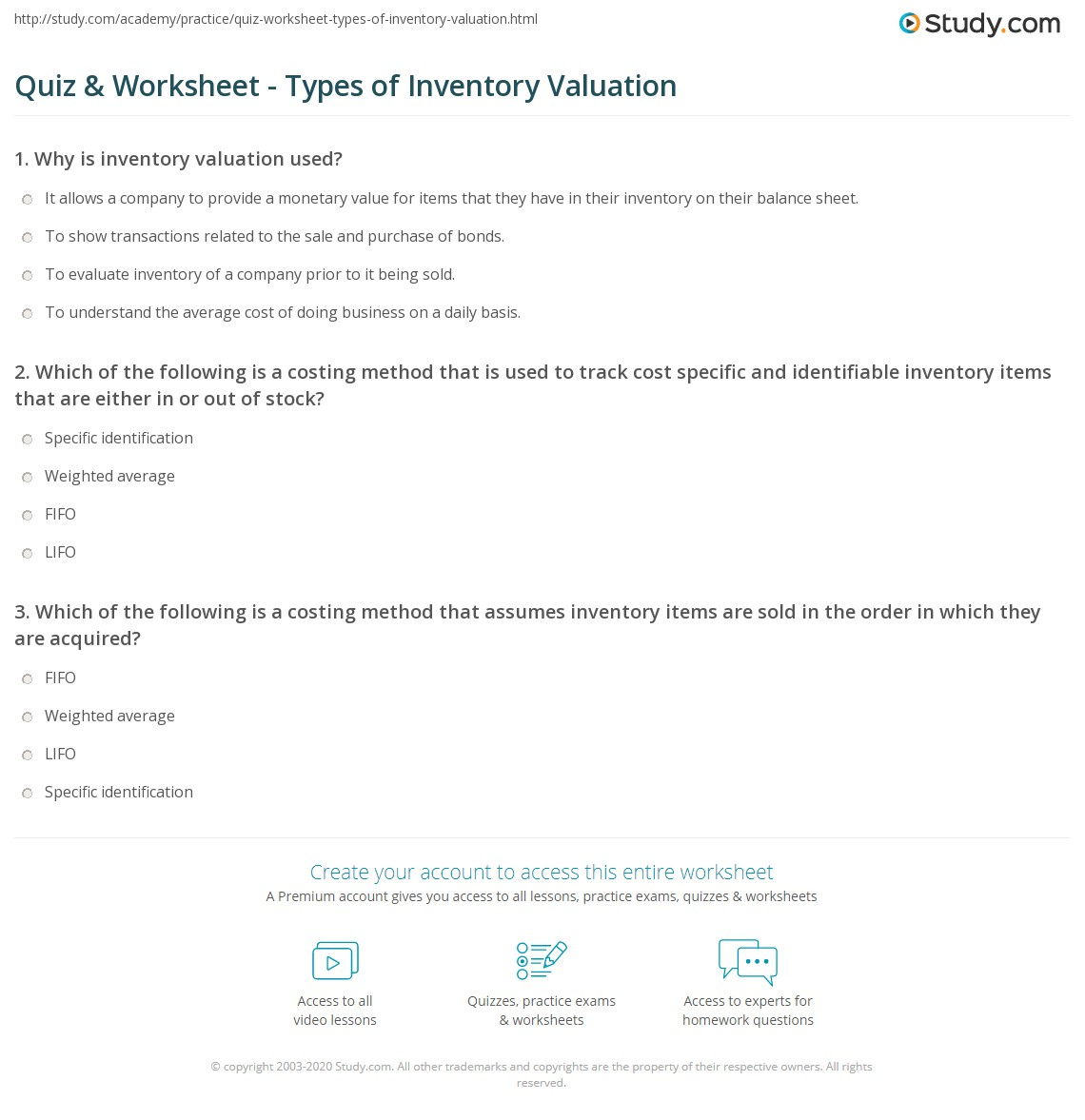types of inventory valuation methods pdf