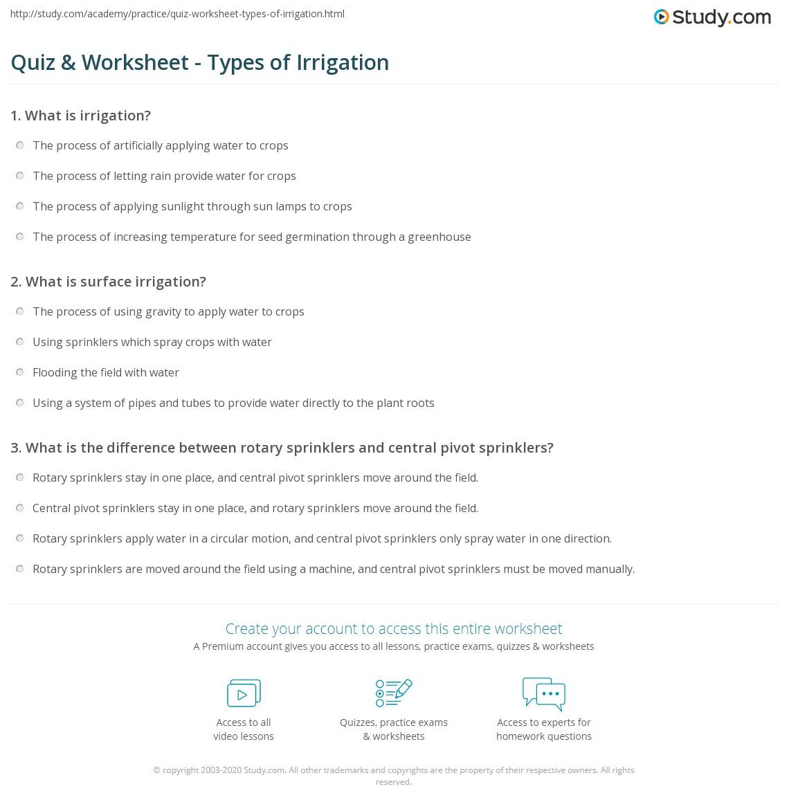 Worksheets Environmental Science Worksheets quiz worksheet types of irrigation study com print definition worksheet