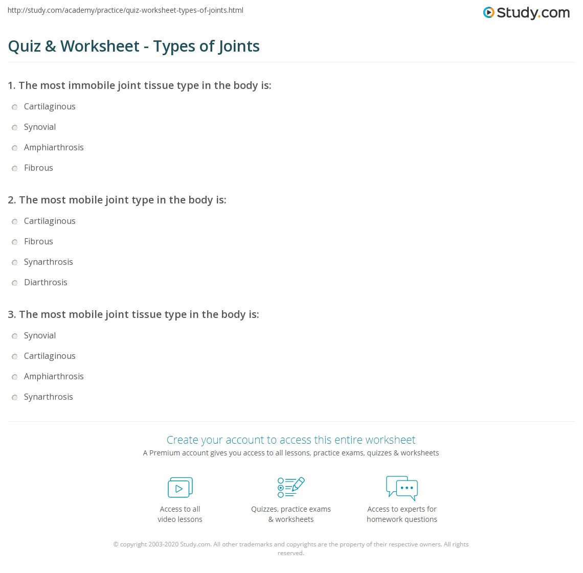 Quiz & Worksheet - Types of Joints | Study.com