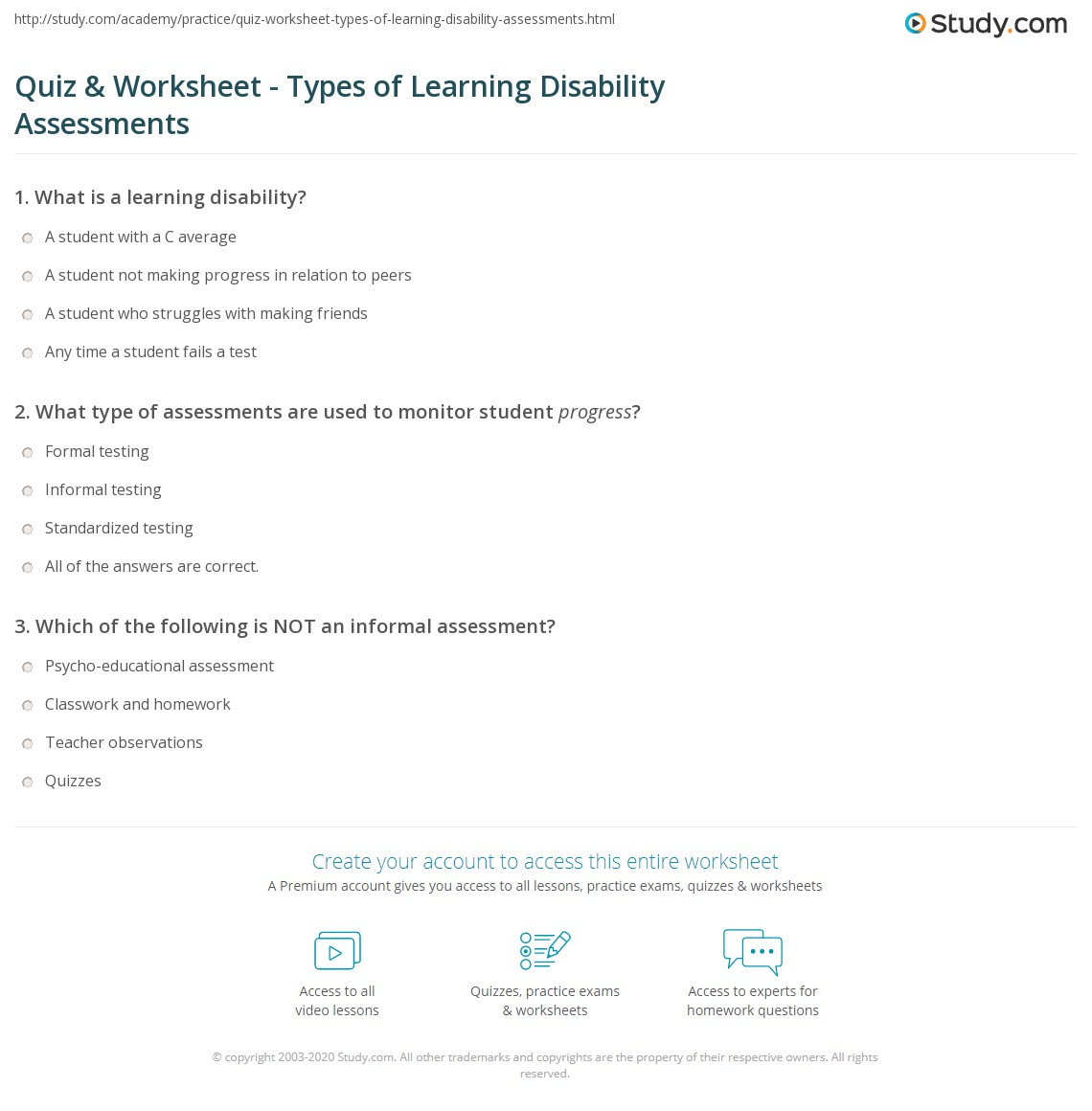 Types Of Learning Disabilities >> Quiz Worksheet Types Of Learning Disability Assessments Study Com